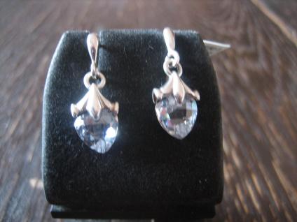 bezaubernd süße Herz Ohrringe Hänger kristall klar 925er Silber Zirkonia NEU