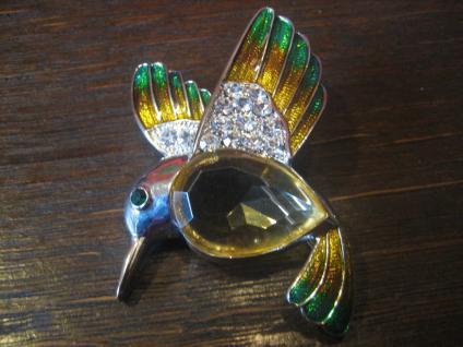 tolle große Vintage Kolibri Eisvogel Brosche Email Jellybelly Modeschmuck 1980