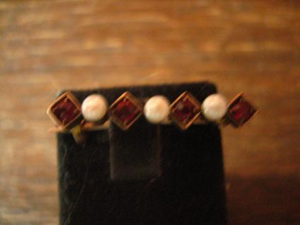elegante Jugendstil Krawattennadel Stabnadel Brosche Granat Perlen 585er Gold - Vorschau 4