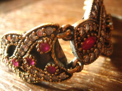 Kronjuwelen gesucht ? prächtiges Rubin Smaragd Armband Armreif Handarbeit Unikat - Vorschau 5