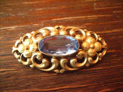 schöne florale Trachten Dirndl Brosche gold Doublé mit aquamarin Stein um 1930 - Vorschau 1