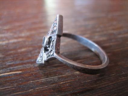 feiner Art Deco Markasit Ring Schiffchenring 925er Silber Markasiten elegant - Vorschau 2