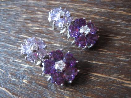 Kronjuwelen gesucht ? opulente Ohrringe Hänger 925er Silber Zirkonia Amethyst - Vorschau 2