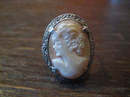 prächtiger Jugendstil Ring Kamee Cameo Gemme 830er Silber fein verzierte Fassung