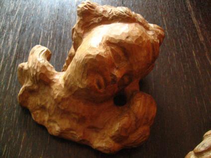 großes prächtiges Paar Engelköpfe 2 Engel Putto Köpfe Holz geschnitzt Handarbeit - Vorschau 3