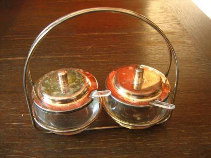 stilvolle Frühstücks Menage 2 Marmeladenglas Glas Gläser mit Ständer und Löffel - Vorschau 1