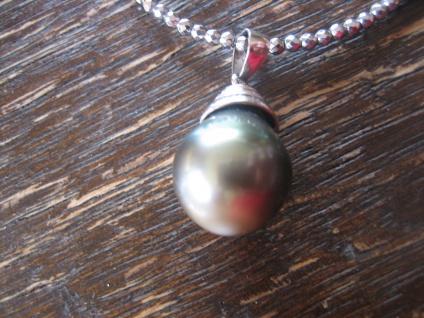 Designer Anhänger 925er Silber Tahitiperle Tahiti Perle grau 12 - 15 mm an Kette