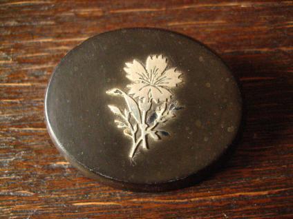 seltene antike Bakelit Brosche mit Silber Inlay Blume Kornblume Blüte Rarität !
