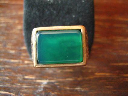 edler Herrenring Siegelring Ring 925er Silber gold Achat grün RG 65 20.75 mm