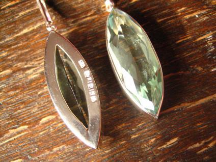 exklusive Designer Ohrringe aquamarin Pampeln 925er Silber blauer Obsidian 7, 5 cm - Vorschau 4