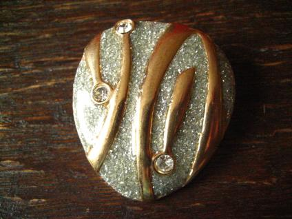 prächtiger vintage Schalhalter Tuchhalter Scarf holder gold mit Strass Steinen - Vorschau 3