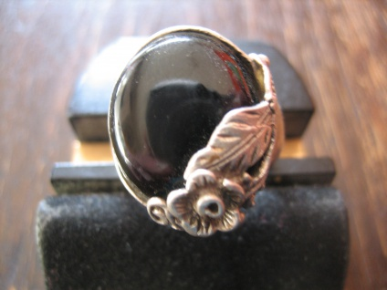 romantischer Vintage Ring Onyx Blume Blüte Blumenring 835er Silber ausgefallen - Vorschau 1