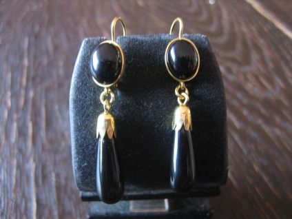 ausgefallene Ohrringe Hänger feine Onyx Pampeln Cabochon 925er Silber gold NEU