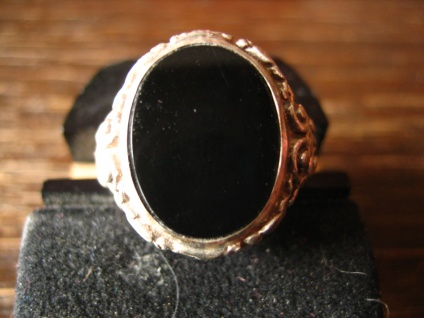 stilvoller Art Deco Herrenring Siegelring 835er Silber Onyx Ring 18, 5 mm RG 58