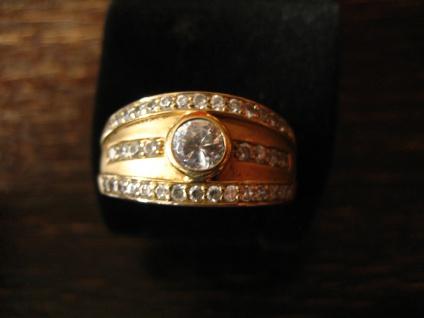 sehr edler moderner Designer Ring 925er Silber mattiert gold vergoldet Zirkonia - Vorschau 2