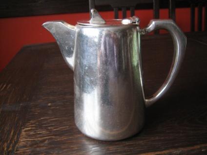 schlichte edle britische Teekanne tolle Blumen Deko als Rosenvase silber plated - Vorschau 2