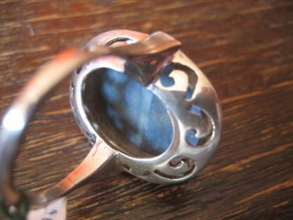 prächtiger Art Deco Ring blauer Achat Cabochon 830er Silber RG 54 / 55 17, 25 mm - Vorschau 4