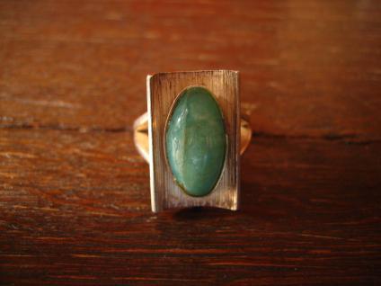 Exklusiver Vintage Designer Ring 935er Silber Chrysopras ausgefallen RG 52 - Vorschau 2