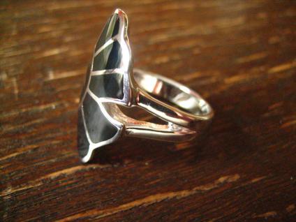 moderner sehr edler Gingko Blatt Ring 925er Silber Onyx Einlage schwarz neu RG 60 - Vorschau 3