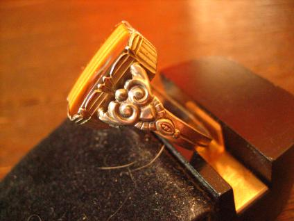 Prächtiger Art Deco Herrenring Siegelring 800er Silber Tigerauge 18, 5 mm RG 59 - Vorschau 3