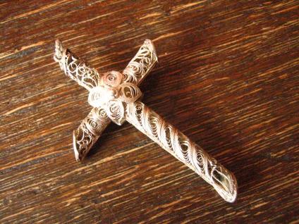 prächtiger Jugendstil Kreuz Anhänger 800er Silber feinste Handarbeit Filigran - Vorschau 2