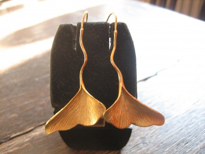 ultralange Gingko Ginkgo Blatt Ohrringe 925er Silber gold fein ausgearbeitet NEU