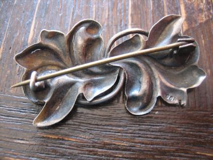 nostalgische Jugendstil Brosche floral Stechpalme Mistel 800er Silber getrieben - Vorschau 3