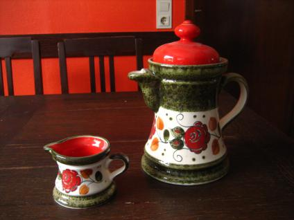 Service Schramberg Tirol große Kaffeekanne Teekanne + Milchkännchen handbemalt