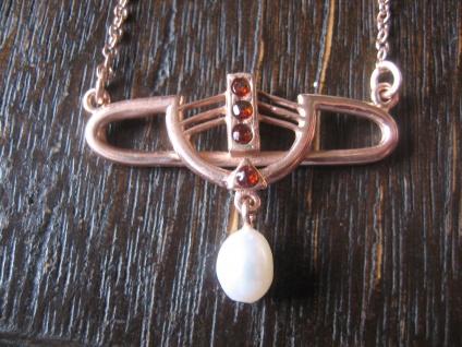 zauberhaftes Jugendstil Collier 925er Silber rotgold vergoldet Granat Perle
