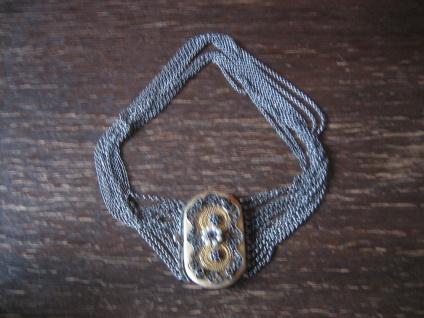 antike Trachtenkette Kropfkette Dirndl Collier 835er Silber gold Granat Perlen