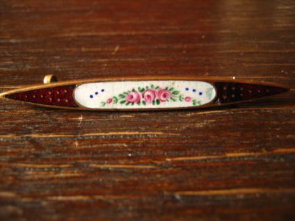 reizende Jugendstil Krawattennadel Emaille emailliert Brosche Stabnadel Rosen