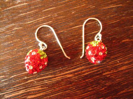 ganz reizende Ohrringe Hänger Erdbeeren Erdbeere Glitzersteine 925er Silber NEU