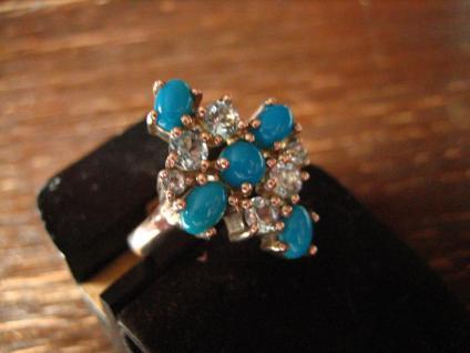 prächtiger vintage Designer Ring Cocktailring 925er Silber Türkis aquamarin blau - Vorschau 2