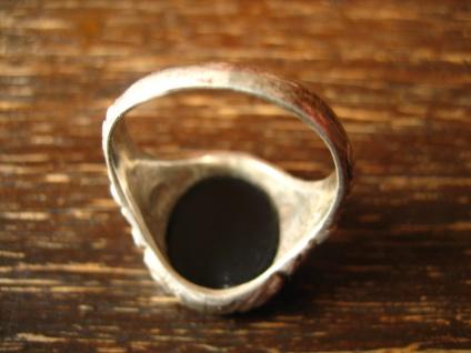 stilvoller Art Deco Herrenring Siegelring 835er Silber Onyx Ring 19 mm RG 60 - Vorschau 4