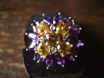 prächtiger vintage Designer Ring Cocktailring 925er Silber Amethyst Topas