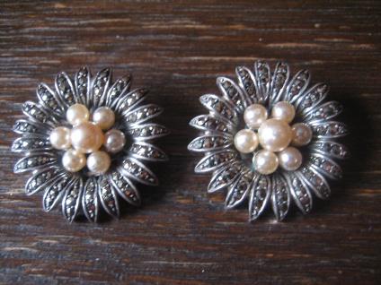 prächtige Art Deco Markasit Ohrringe Clips Blumen Perle 925er Silber TOP Zustand