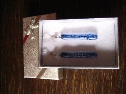 herrliche lange Ohrringe Hänger klar blau NEU Kunsthandwerk Arts & Crafts Unikat - Vorschau 2