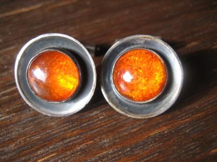 tolle Art Deco Bernstein Manschettenknöpfe baltic Amber Cufflinks 835er Silber