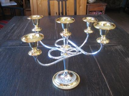 atemberaubender 5arm Kerzenhalter Kerzenleuchter Kandelaber silber pl gold Engla
