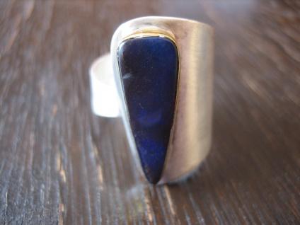 exklusiver Herrenring Boulder Opal Ring Opalring 925er Silber RG 58 - 59 Unikat