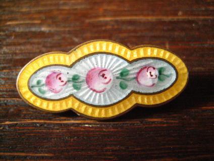 reizvolle Jugendstil Rosen Brosche Emaille Rose Emailmalerei von Hand gemalt