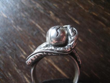 mächtiger Biker Ring Totenkopf Schlange der Biss Gift Skull 925er Silber RG 60 - Vorschau 3