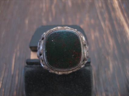 klassischer Art Deco Herrenring Siegelring 835er Silber Blutjaspis Ring RG 65