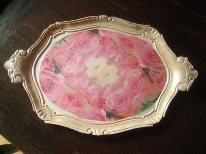 reizend verziertes Gründerzeit Tablett Weichholz Holz mit Rosen neu restauriert