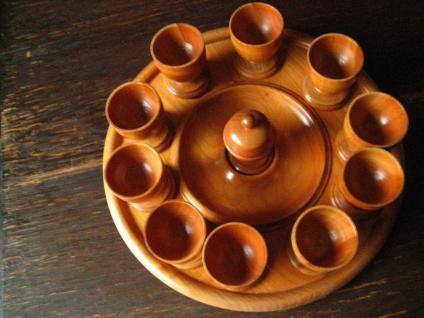 Frühstück Menage 10 Eierbecher Saliere Tablett Eierteller Holz 50er Jahre Kult
