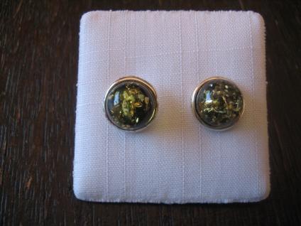edle Bernstein Ohrringe Stecker seltener grüner Bernstein 925er Silber 10 mm