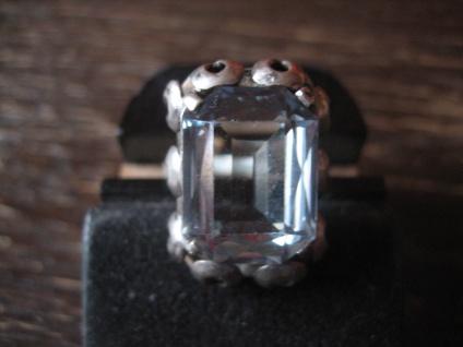 klassisch eleganter Art Deco Ring aquamarin Stein blau 835er Silber 17 mm RG 54