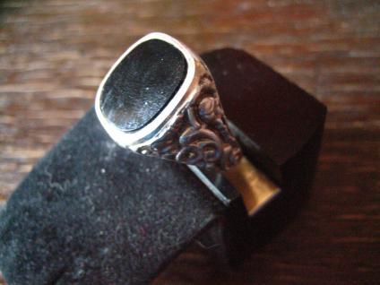 klassischer Art Deco Herrenring Siegelring 835er Silber Onyx Ring 18, 75 mm RG 59 - Vorschau 2