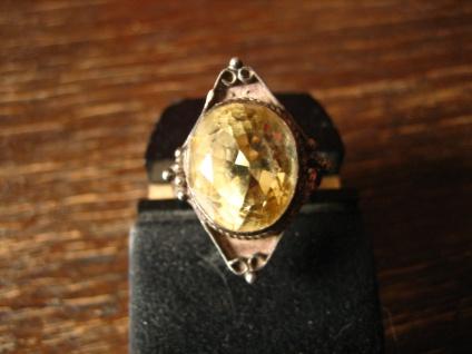 sehr schöner Art Deco Ring Citrin gelb 925er Silber Handarbeit Unikat RG 60 19 mm - Vorschau 2