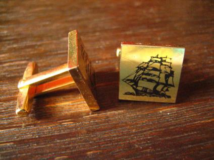 maritime Vintage Manschettenknöpfe Segelschiff Dreimaster gold Segeln Schiff - Vorschau 2